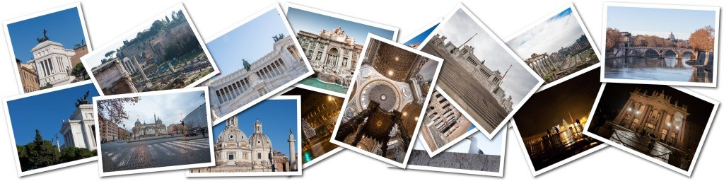 Postcard collage from Rome, Italy. The main attractions